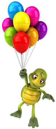 floating: Tortoise character holding a bunch of balloons