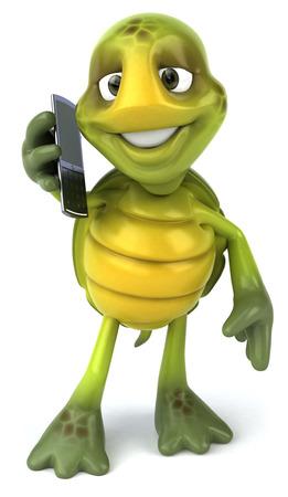 Tortoise character using a phone