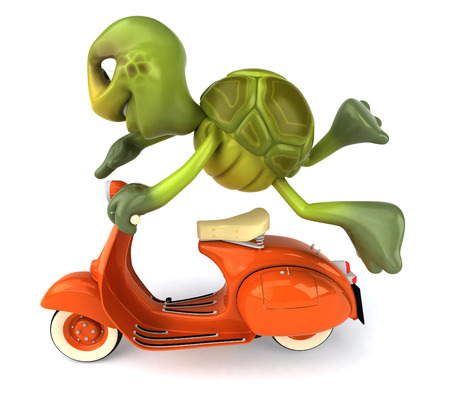 Tortoise character on scooter