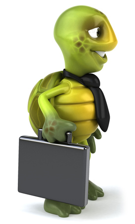 Tortoise character with necktie and briefcase