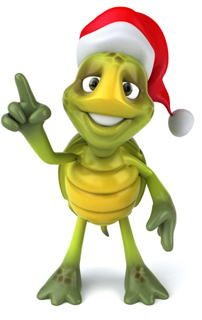 Tortoise character with santa hat pointing Stock Photo