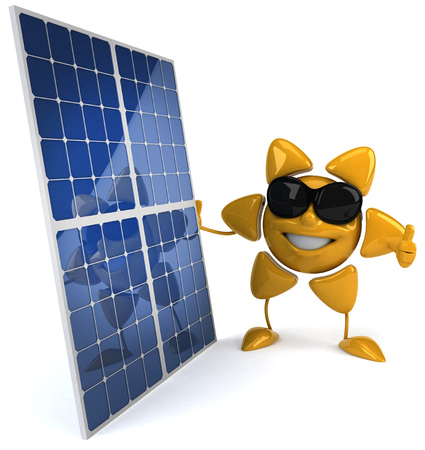 Sun character with shades standing beside solar panels Stock Photo