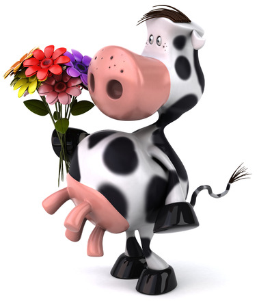 Cow character holding a bouquet of flowers Stock Photo