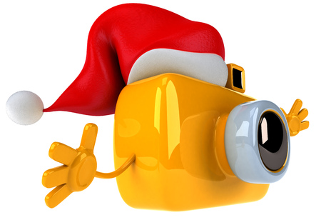 Camera character with santa hat
