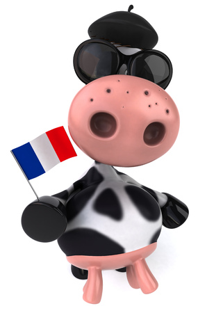 Cow character with shades holding French flag Stock Photo