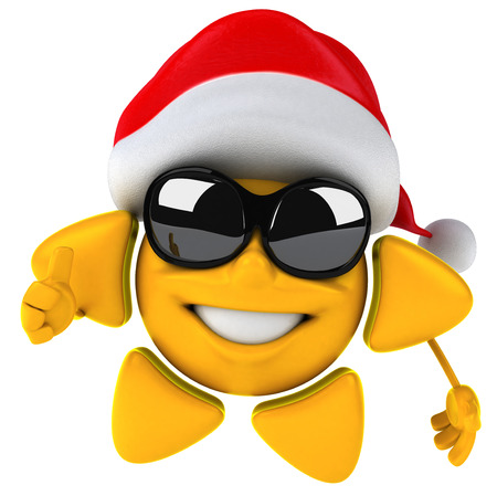 Sun character with shades and santa hat Stock Photo