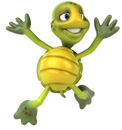 Tortoise character jumping Stock Photo