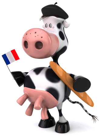 Cow character holding French flag and baguette
