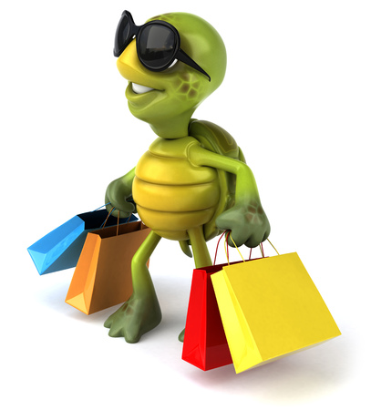 Tortoise character with shades holding shopping bags Stock Photo