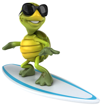 Tortoise character with shades on surfboard