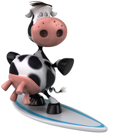 Cow character on a surfboard Stock Photo