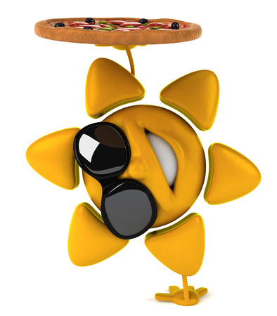 Sun character with shades doing a handstand while holding a pizza