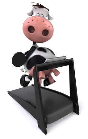 Cow character on treadmill Stock Photo