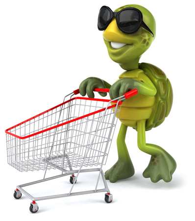Tortoise character with shades pushing a shopping cart