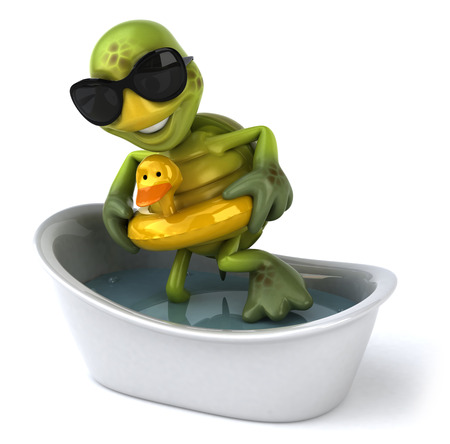 digitally generated image: Tortoise character with shades and duck float entering bathtub