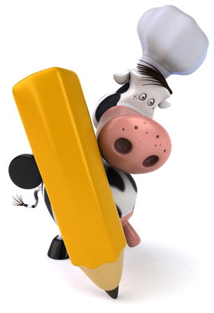 udders: Cow character with chef hat holding a pencil Stock Photo