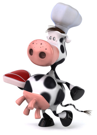 udders: Cow character with chef hat holding a raw steak