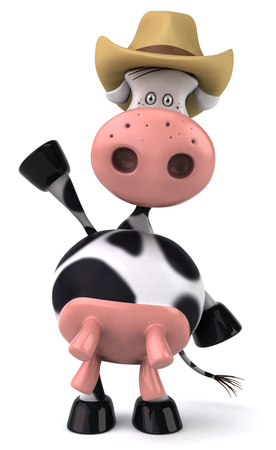 udders: Cow character with cowboy hat Stock Photo