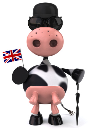 Cow character holding a UK flag and umbrella