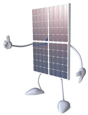 太陽電池パネルの文字ジェスチャー親指