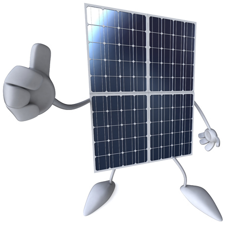Solar panel character gesturing thumbs up