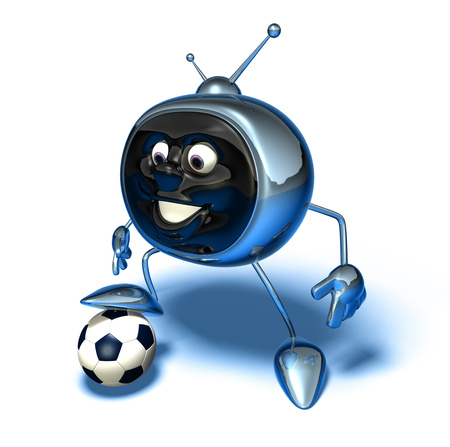 TV character with football Stock Photo