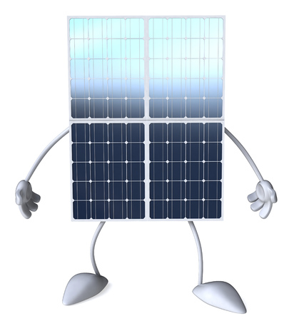 太陽電池パネルの文字 写真素材