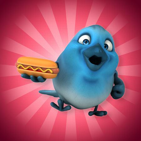 bun: Robin bird character holding a hotdog Stock Photo