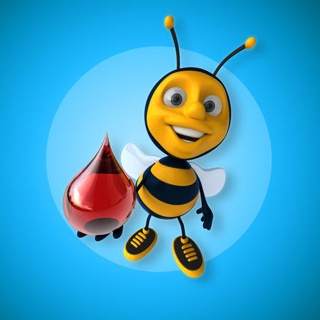 Bumble bee character holding blood droplet