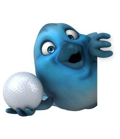 digitally generated image: Robin bird character holding a golf ball
