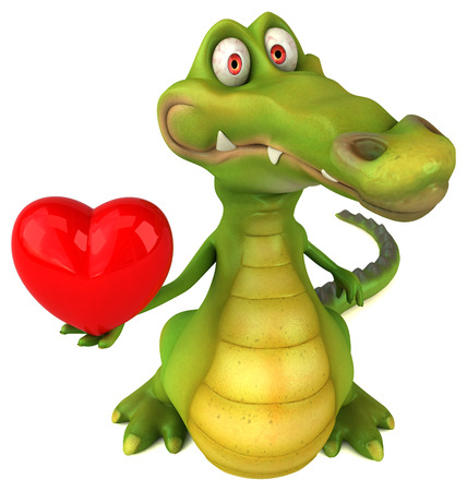 digitally generated image: Crocodile character holding a heart symbol
