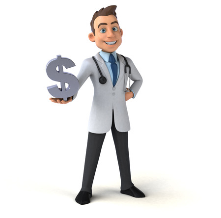 doctor with dollars: Fun doctor Stock Photo