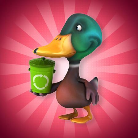 Mallard duck character holding a recycle bin Stock Photo