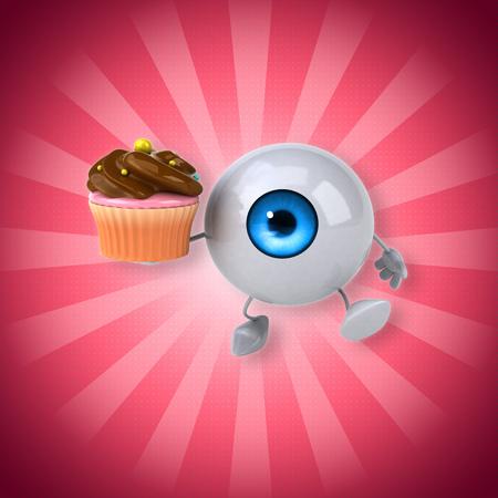 retina: Eyeball character holding a cupcake Stock Photo