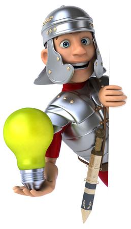Roman legionnaire character holding a lightbulb Imagens - 84118477