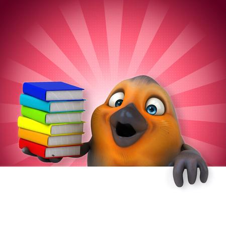 digitally generated image: Cartoon bird with books