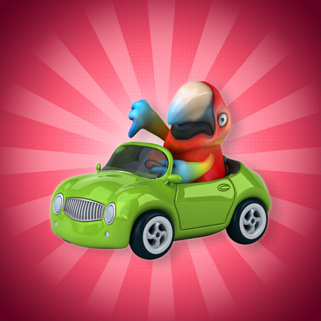Cartoon parrot in a car showing thumbs down Stock Photo