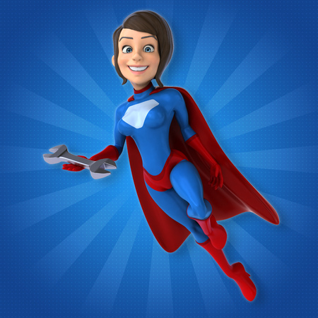 power wrench: Super woman Stock Photo