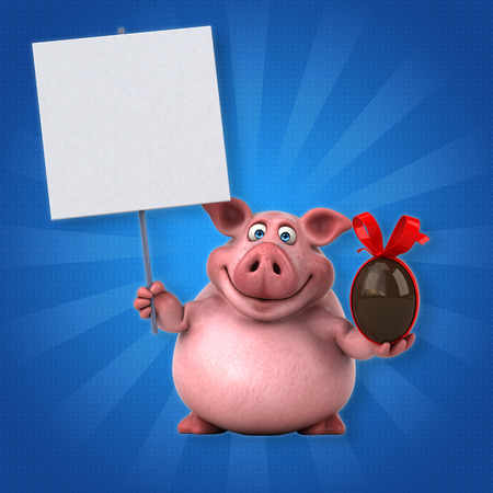 bacon and eggs: Fun pig - 3D Illustration