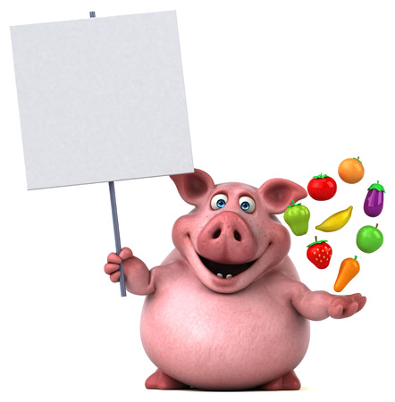 vegetable fat: Fun pig - 3D Illustration