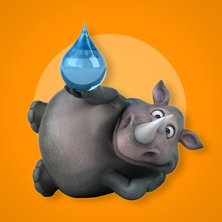 waterdrops: Fun rhinoceros - 3D Illustration