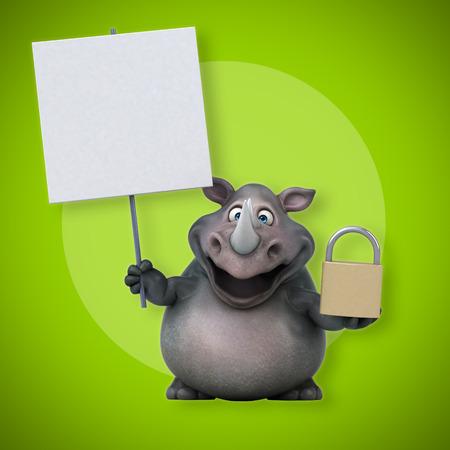 rhinoceros: Fun rhinoceros - 3D Illustration