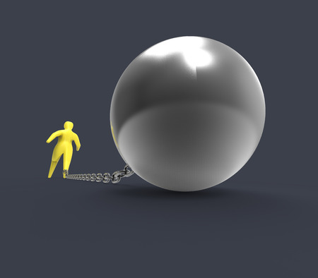 prison ball: Chain and ball - 3D Illustration