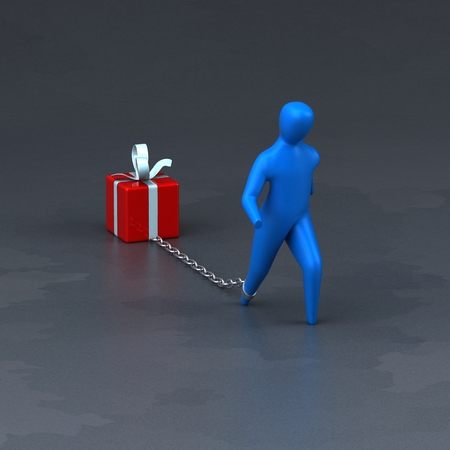 christmas debt: Burden symbol - 3D Illustration