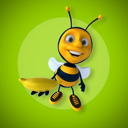 Cartoon bee with a banana Stock Photo