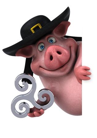 triskel: Fun Pig - 3D Illustration Stock Photo