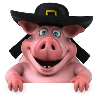 Fun Pig - 3D Illustration Stock Photo