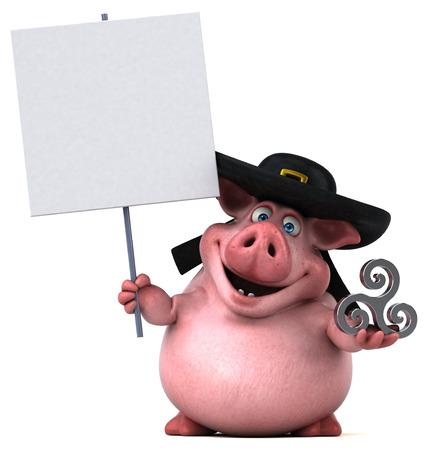 breton: Fun Pig - 3D Illustration Stock Photo