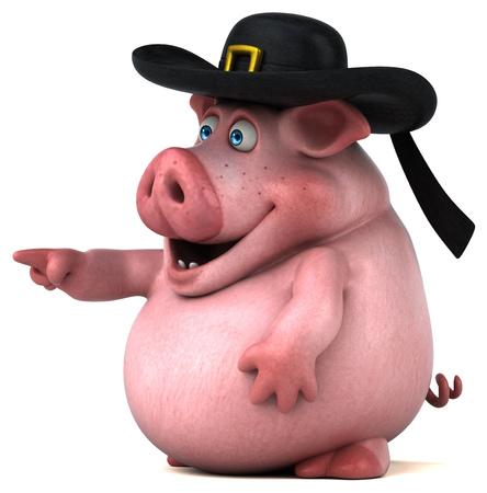 bretagne: Fun Pig - 3D Illustration Stock Photo
