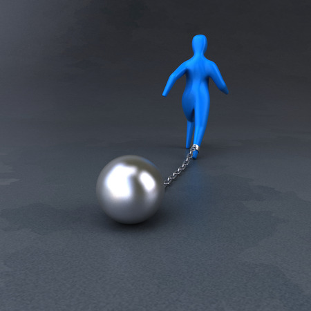 3d ball: Chain and ball - 3D Illustration